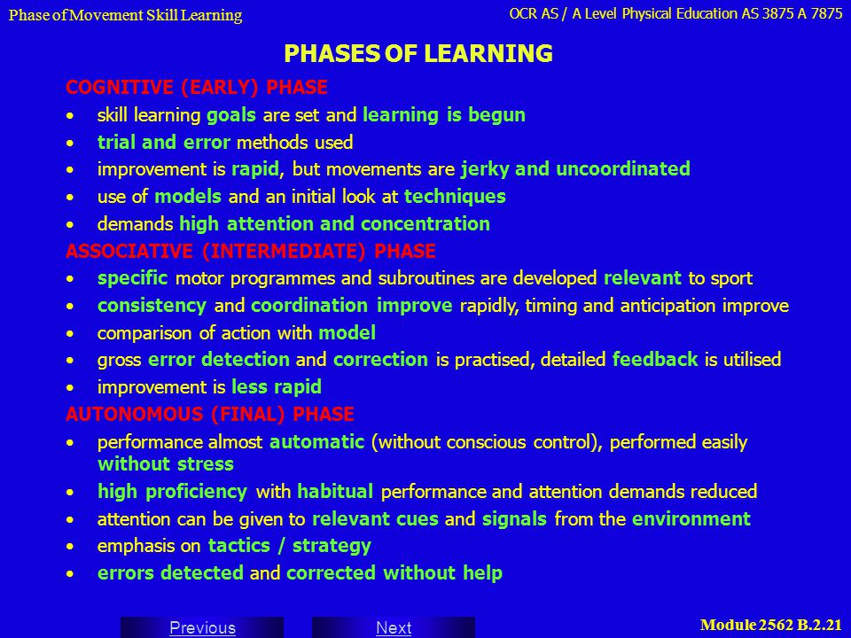 PHASES OF LEARNING COGNITIVE (EARLY) PHASE