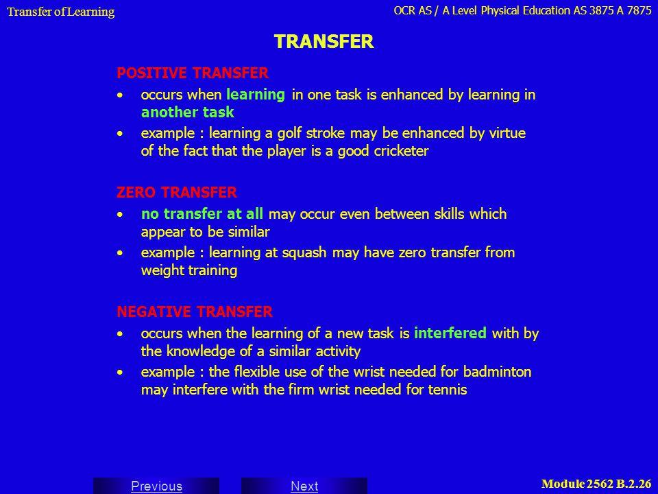 TRANSFER POSITIVE TRANSFER