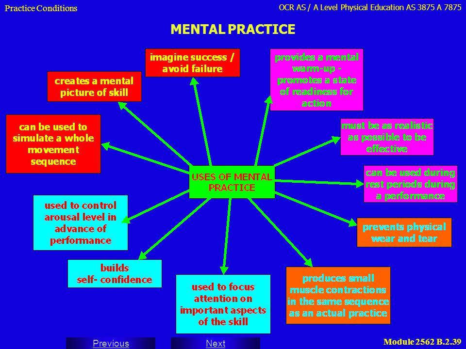 Practice Conditions MENTAL PRACTICE