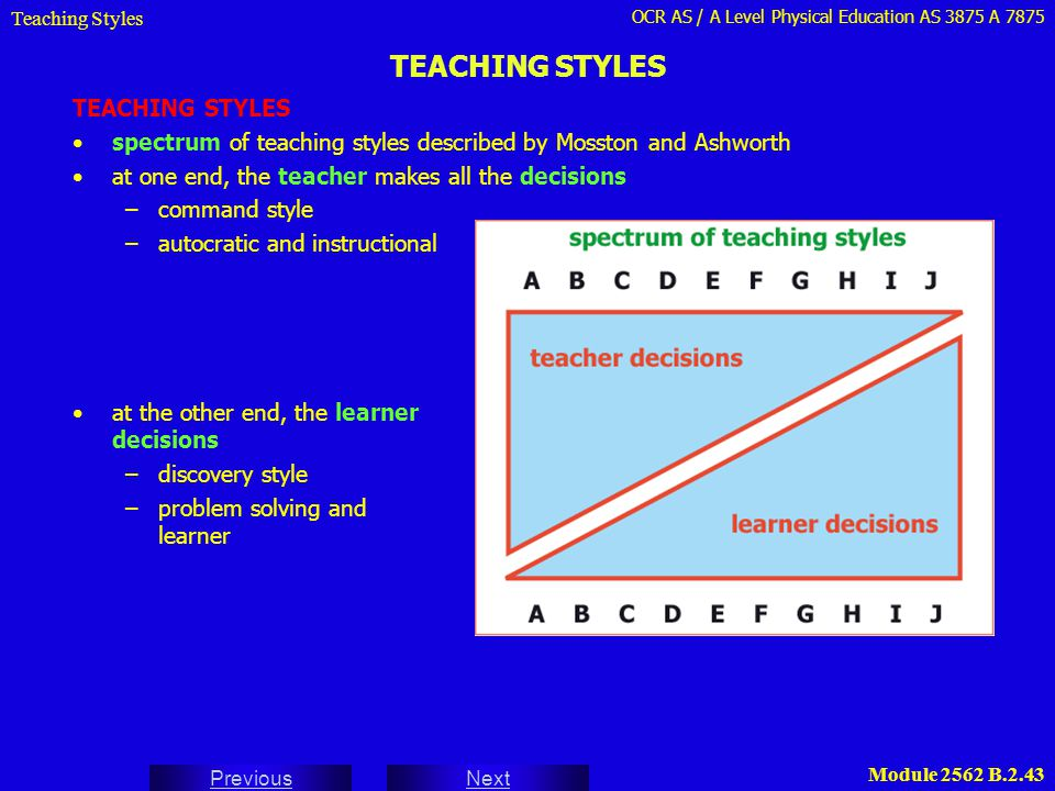 TEACHING STYLES TEACHING STYLES