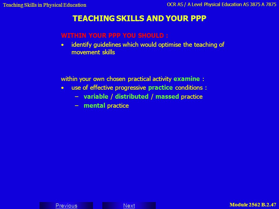 TEACHING SKILLS AND YOUR PPP
