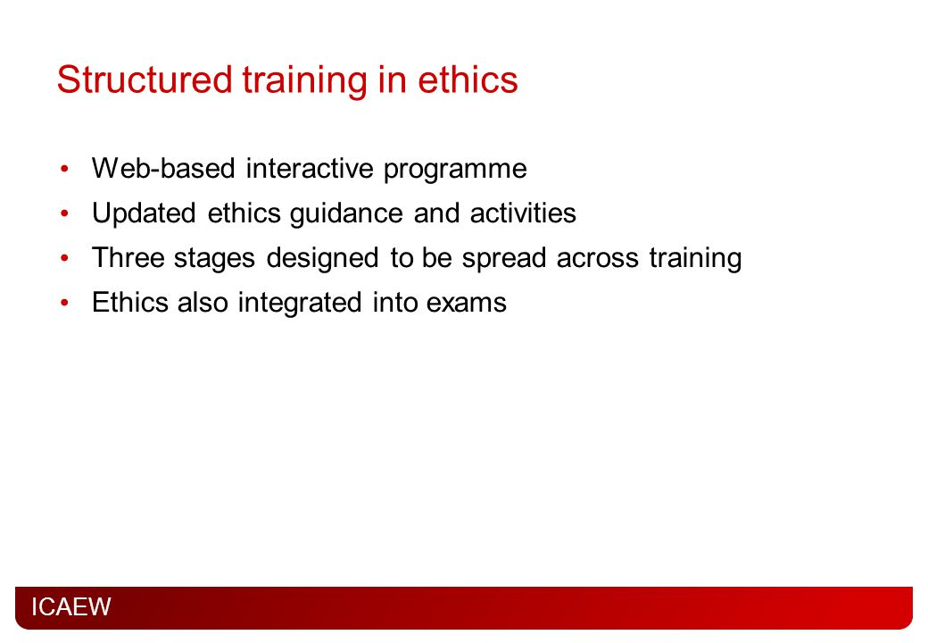 Structured training in ethics
