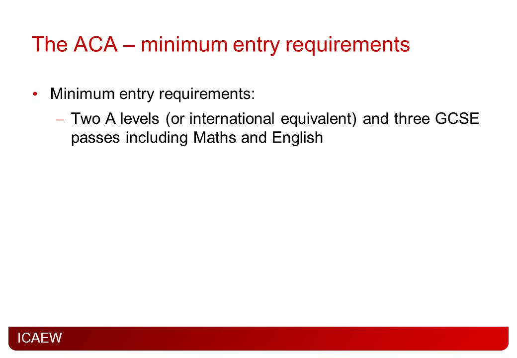 The ACA – minimum entry requirements