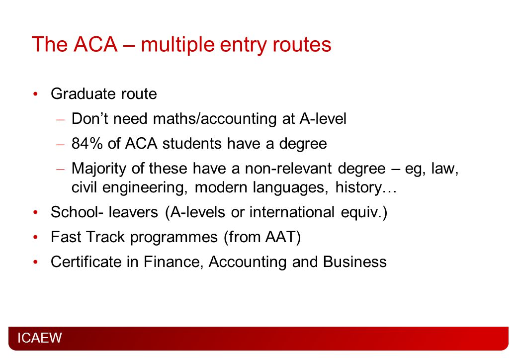 The ACA – multiple entry routes