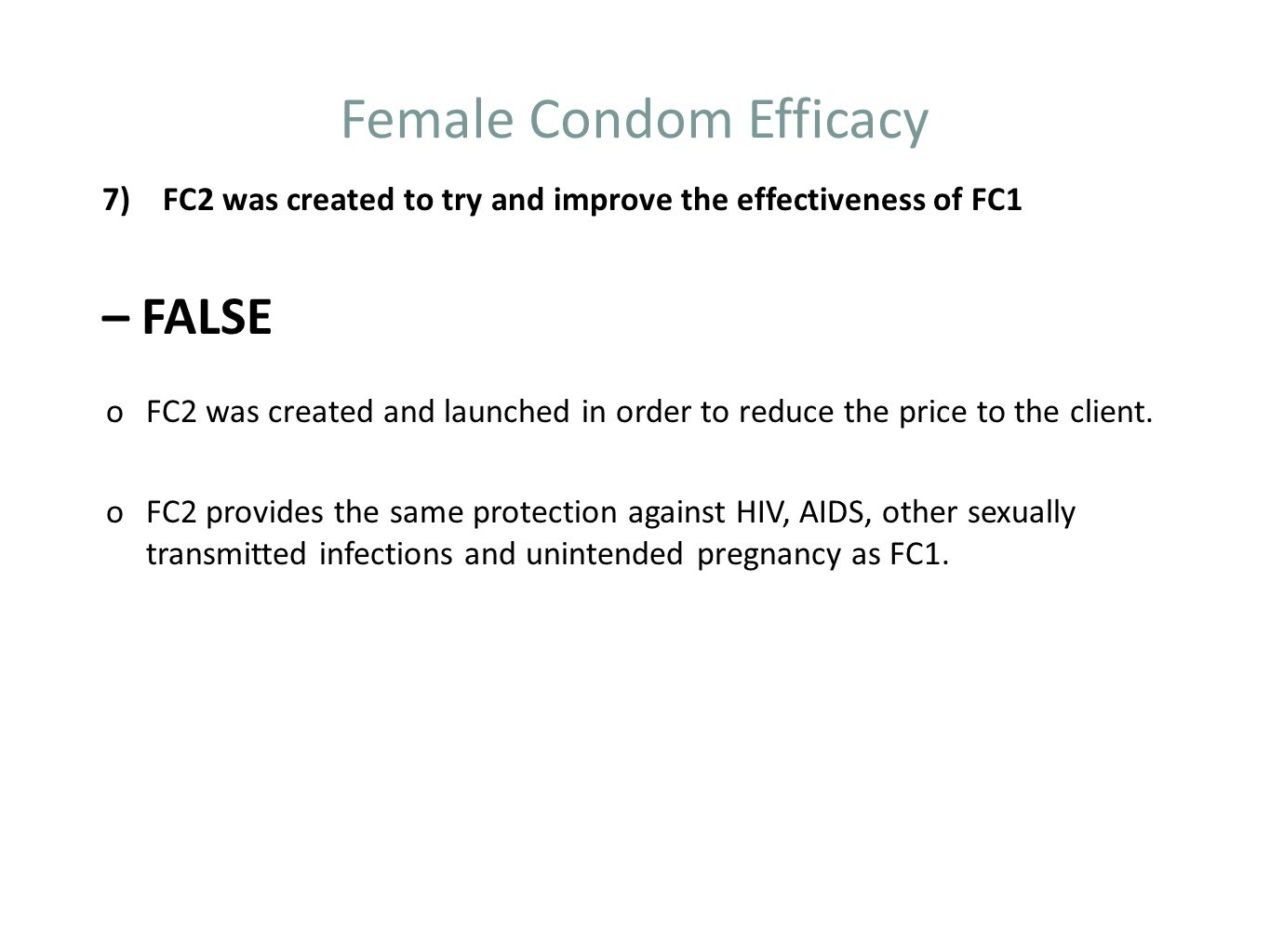 Female Condom Efficacy