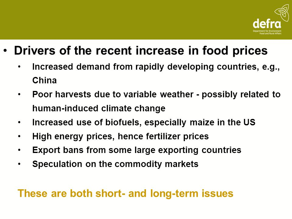 Drivers of the recent increase in food prices