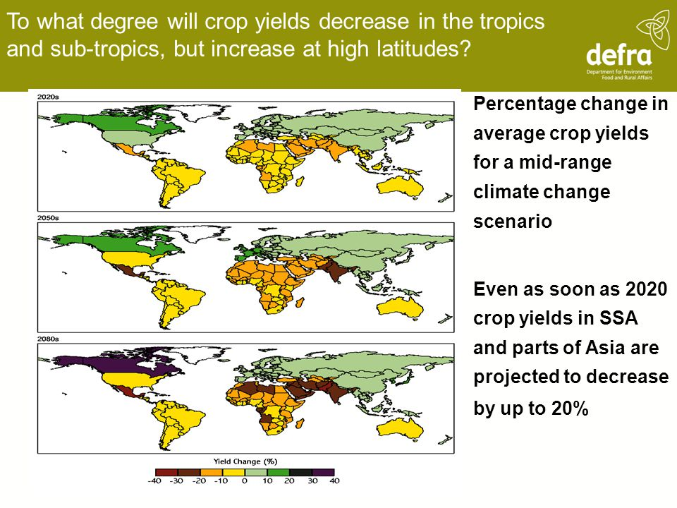 To what degree will crop yields decrease in the tropics and sub-tropics, but increase at high latitudes