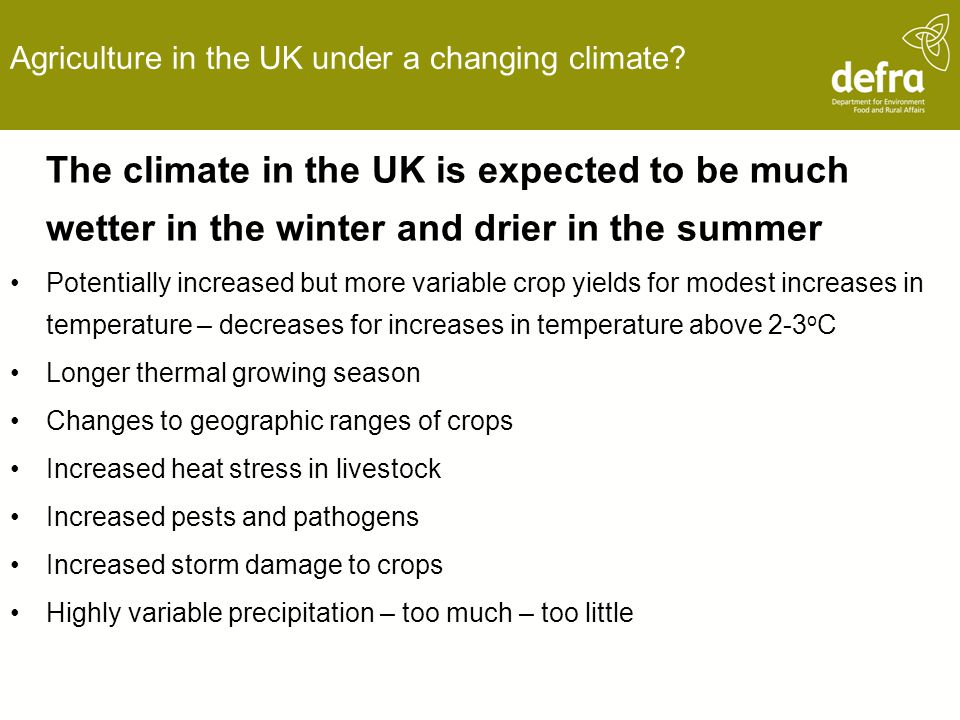 Agriculture in the UK under a changing climate