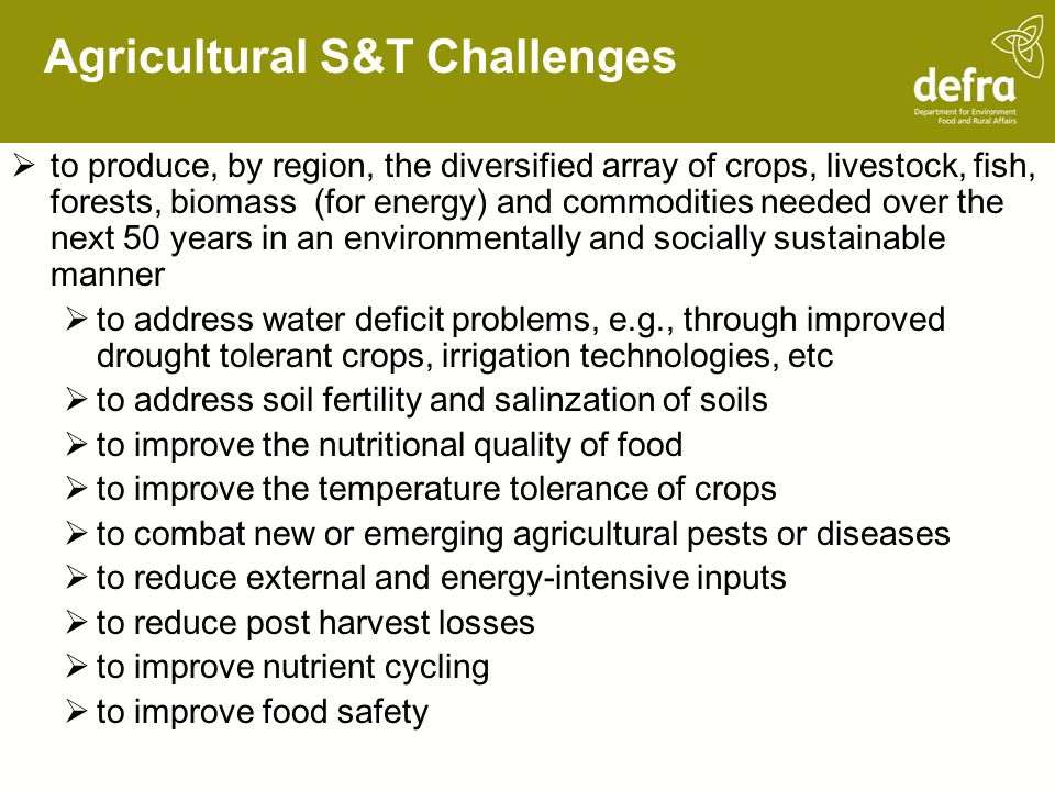 Agricultural S&T Challenges
