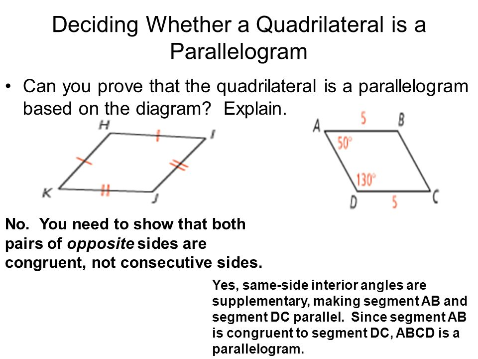 Deciding Whether a Quadrilateral is a Parallelogram