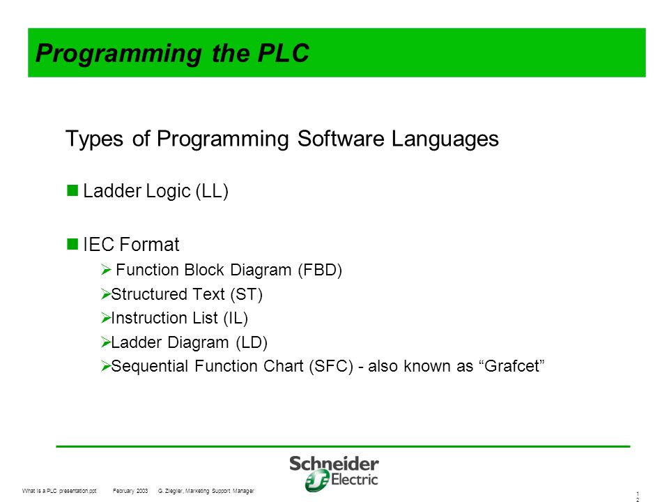 Programming the PLC Types of Programming Software Languages