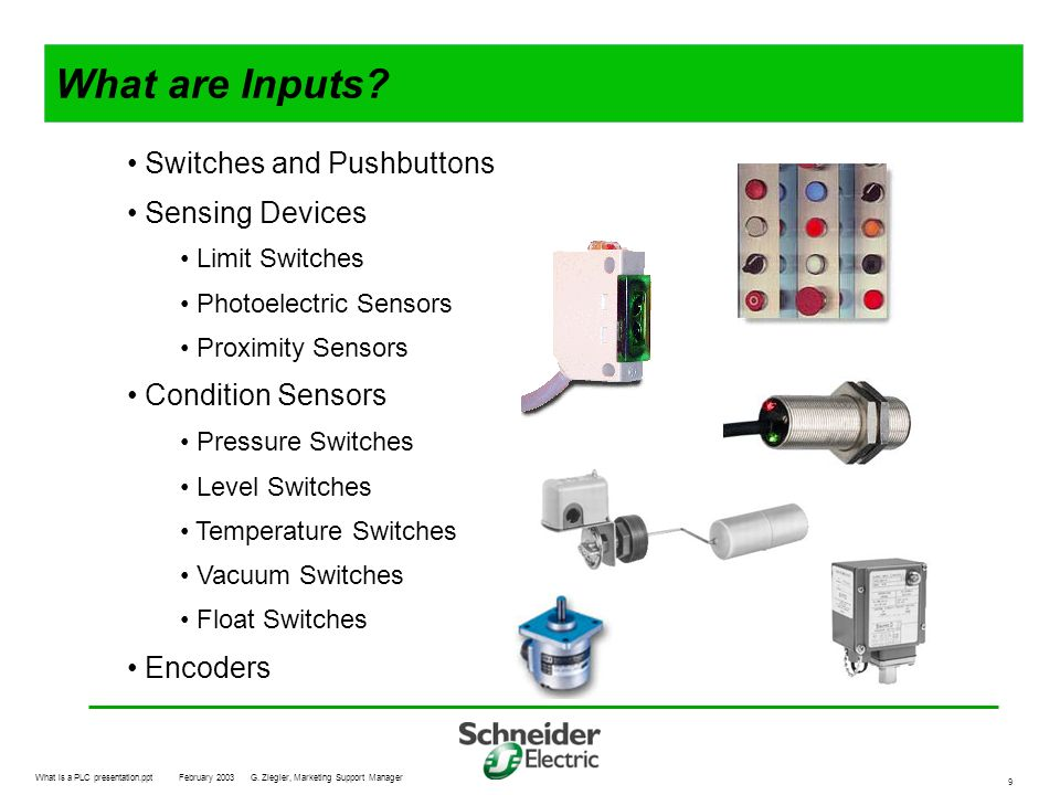 What are Inputs Switches and Pushbuttons Sensing Devices
