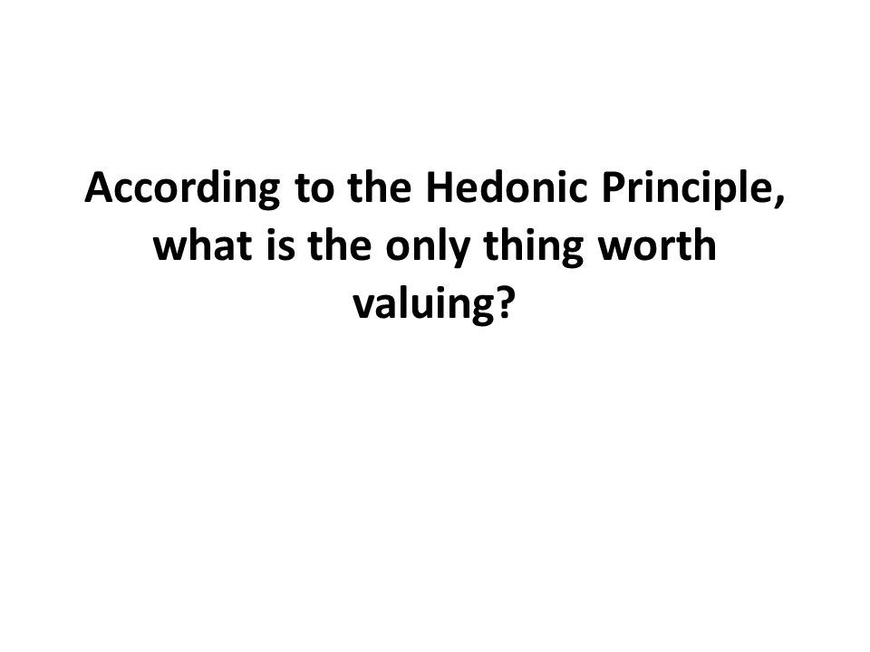 According to the Hedonic Principle, what is the only thing worth valuing