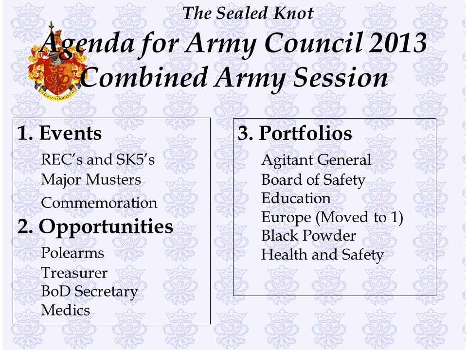 Agenda for Army Council 2013 Combined Army Session