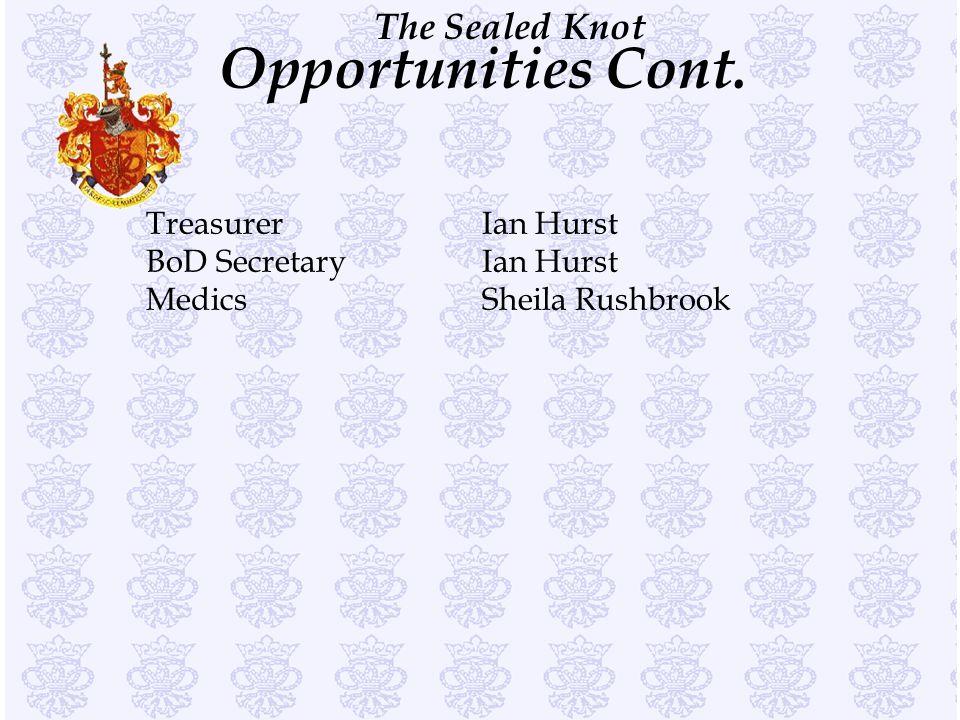 Opportunities Cont. Treasurer Ian Hurst BoD Secretary Ian Hurst Medics Sheila Rushbrook
