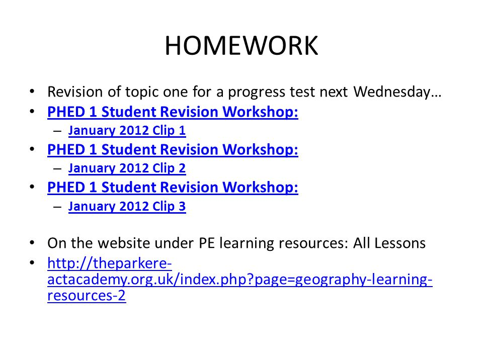 HOMEWORK Revision of topic one for a progress test next Wednesday…