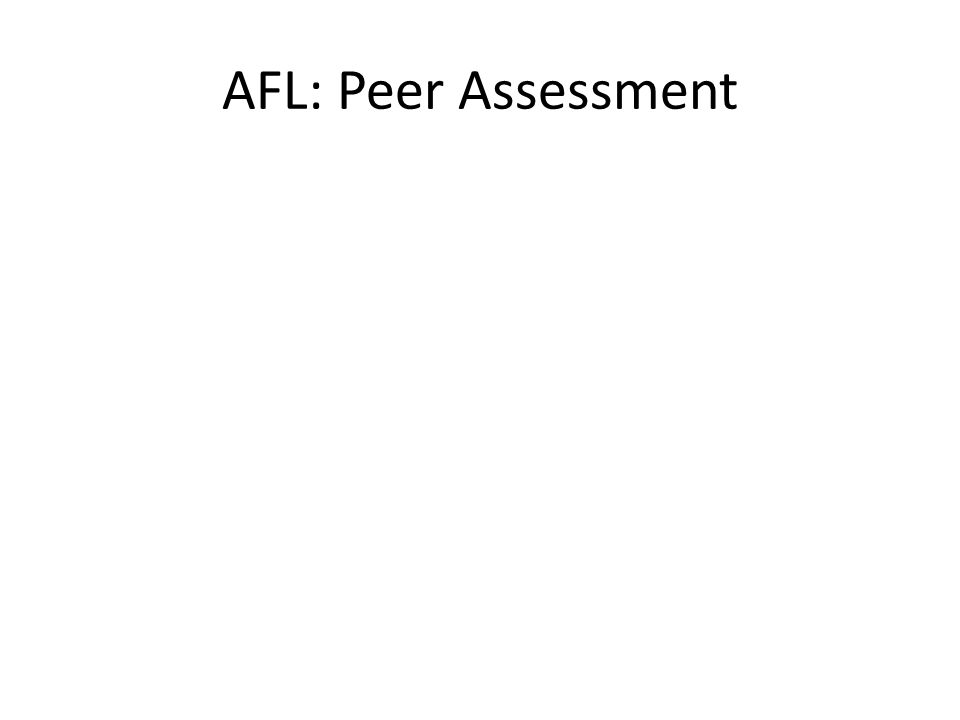 AFL: Peer Assessment
