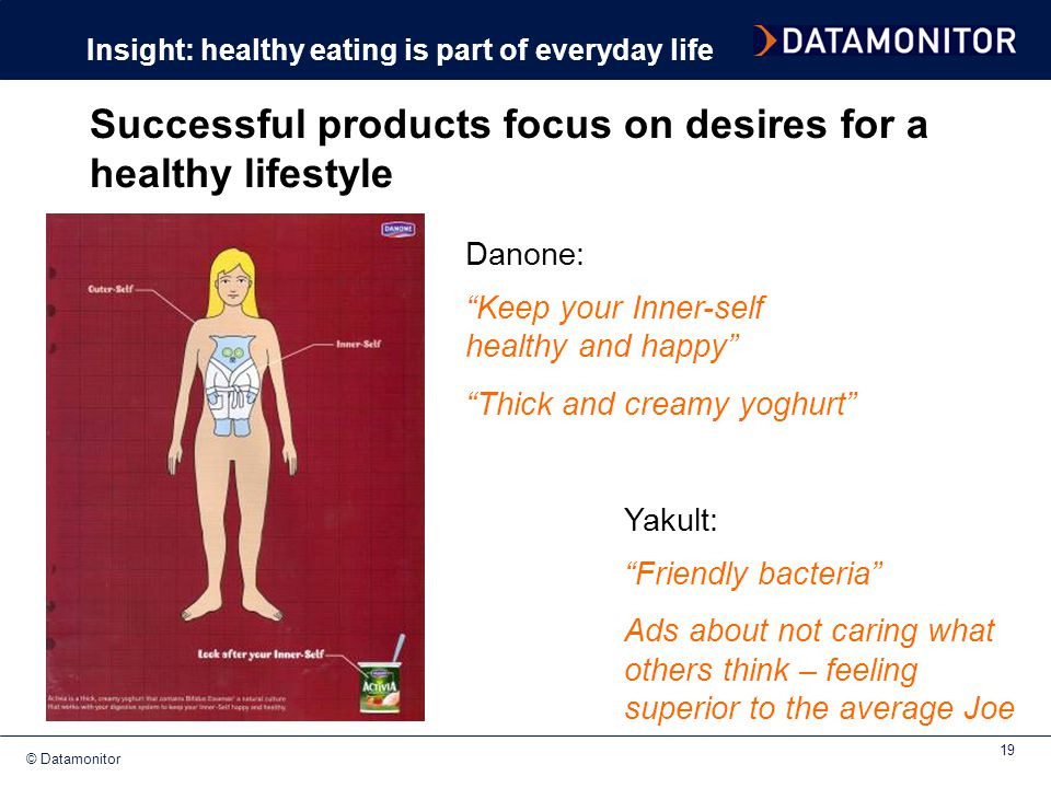 Successful products focus on desires for a healthy lifestyle