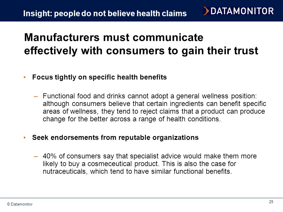 Insight: people do not believe health claims