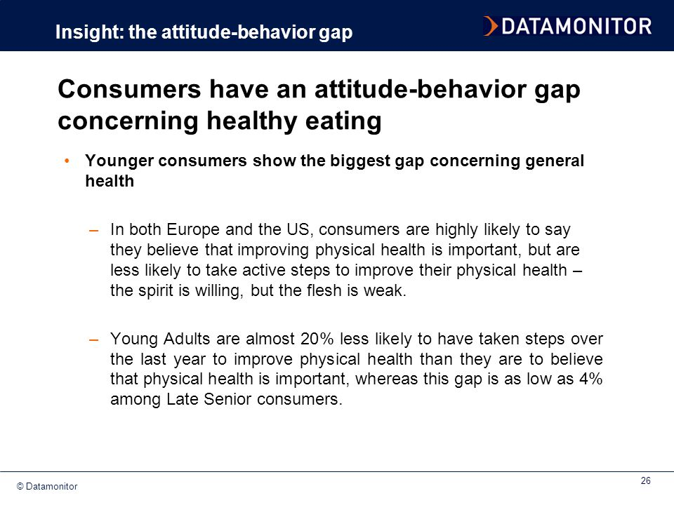 Consumers have an attitude-behavior gap concerning healthy eating