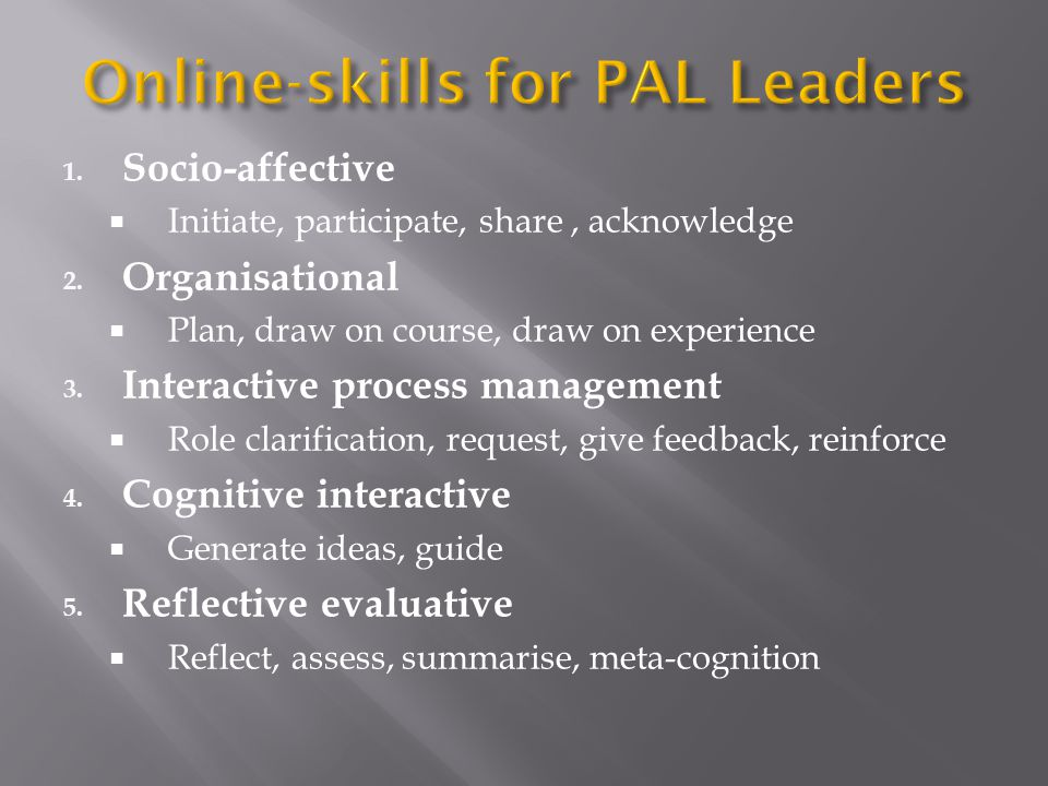 Online-skills for PAL Leaders