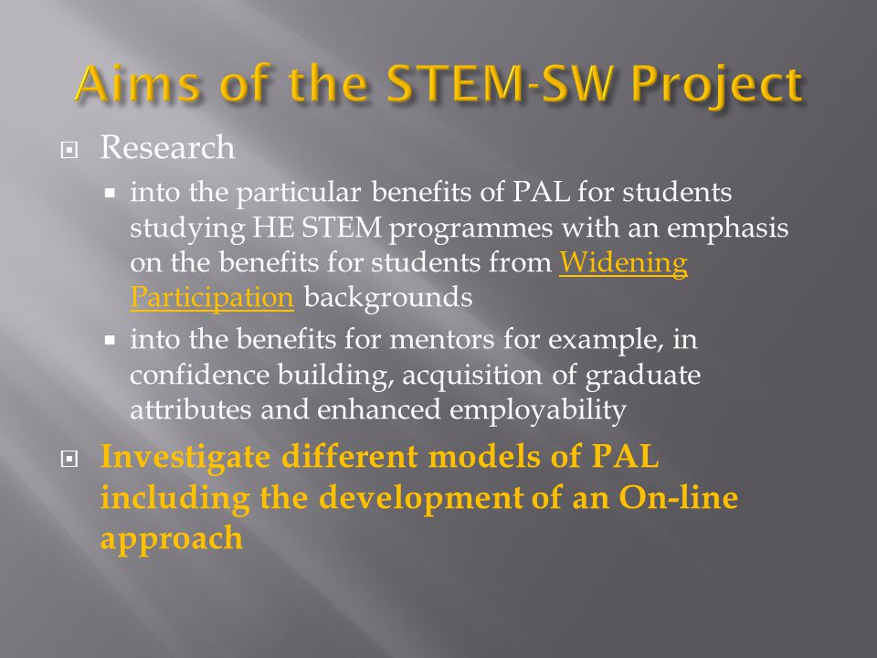 Aims of the STEM-SW Project