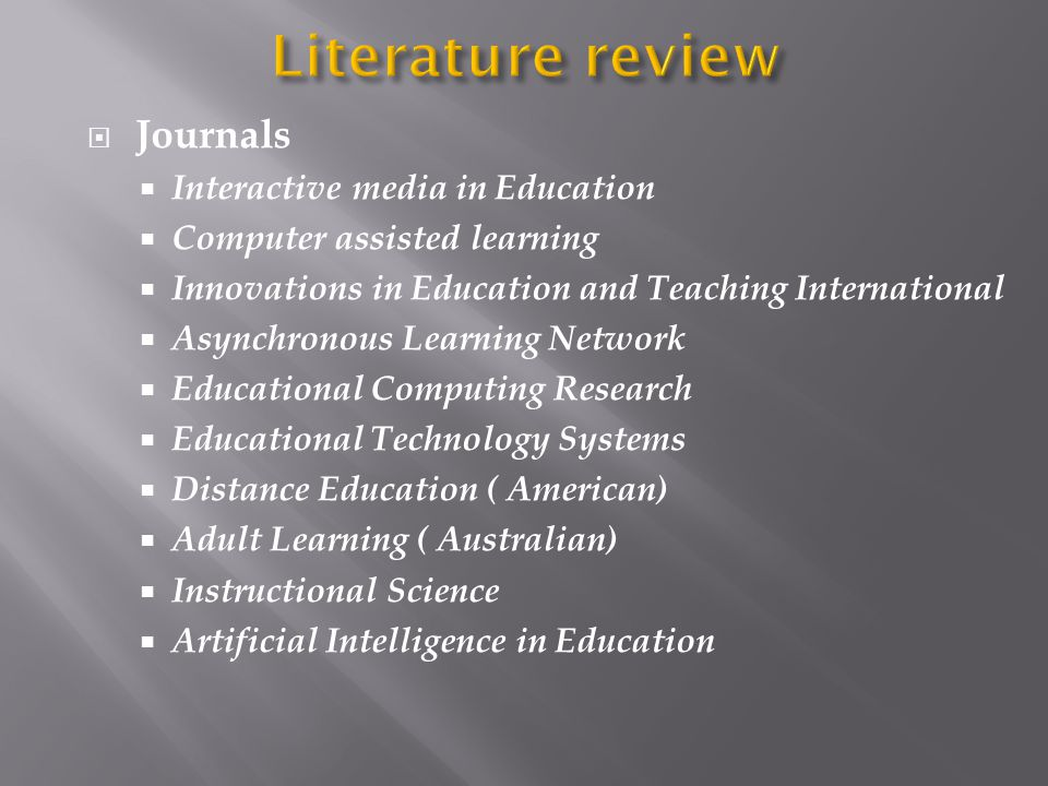 Literature review Journals Interactive media in Education