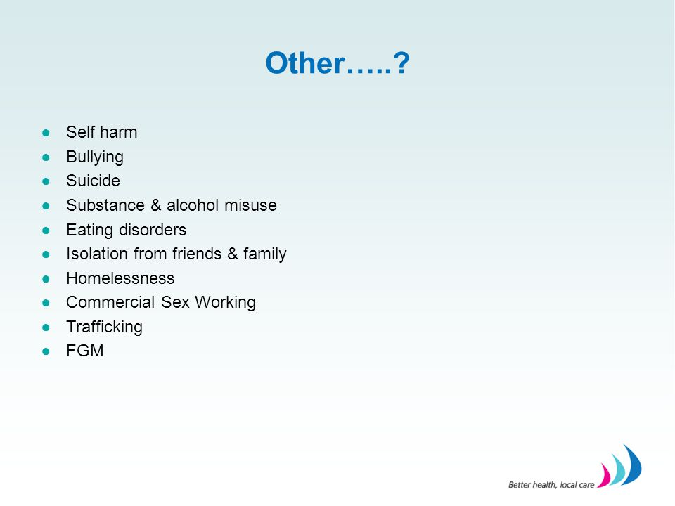 Other….. Self harm Bullying Suicide Substance & alcohol misuse