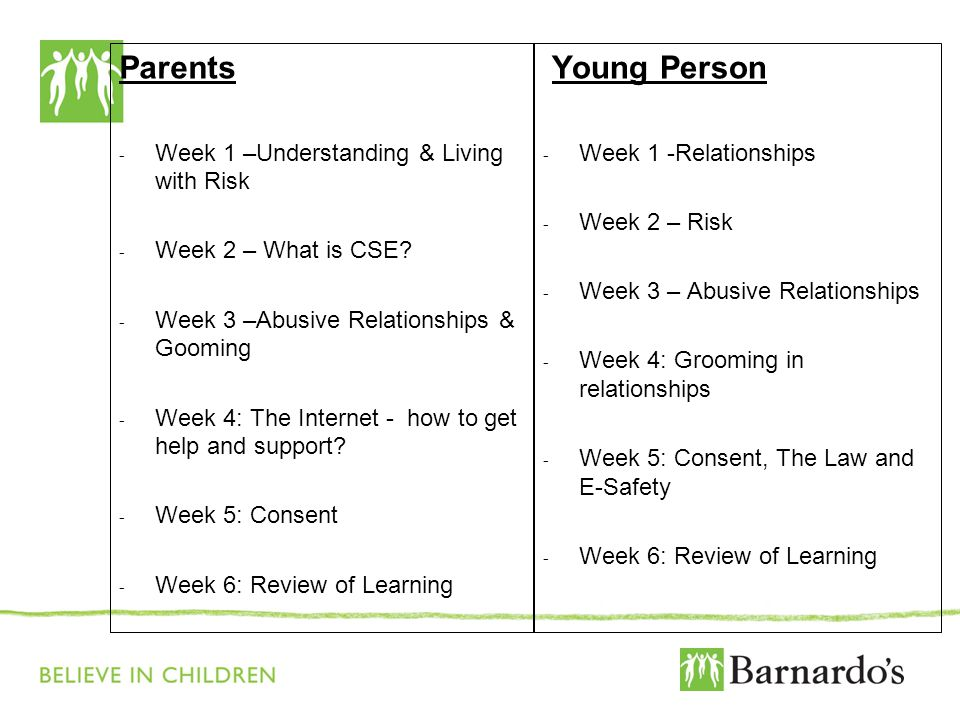Parents Young Person Week 1 –Understanding & Living with Risk
