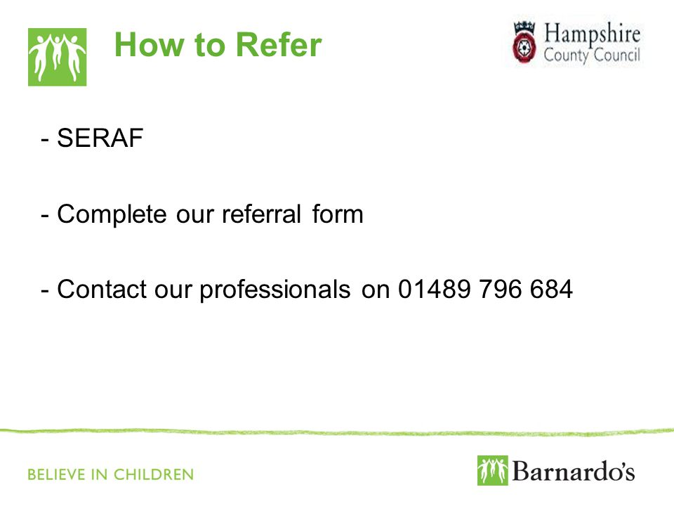 How to Refer - SERAF - Complete our referral form