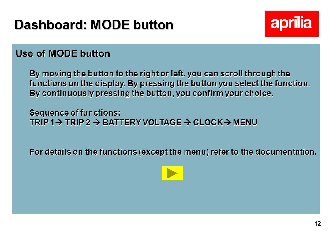 Dashboard: MODE button