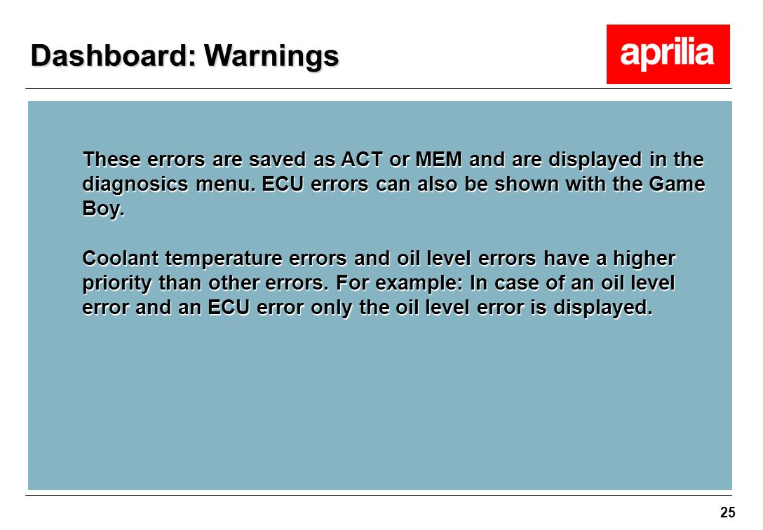 Dashboard: Warnings These errors are saved as ACT or MEM and are displayed in the diagnosics menu. ECU errors can also be shown with the Game Boy.