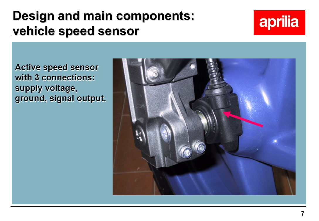 Design and main components: vehicle speed sensor
