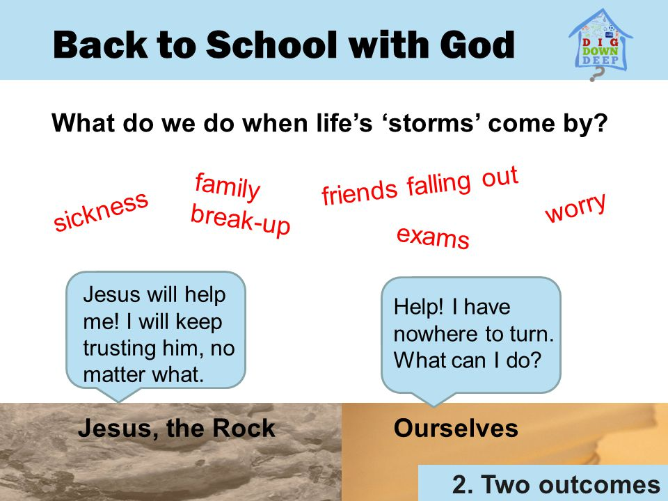 Back to School with God What do we do when life's 'storms' come by