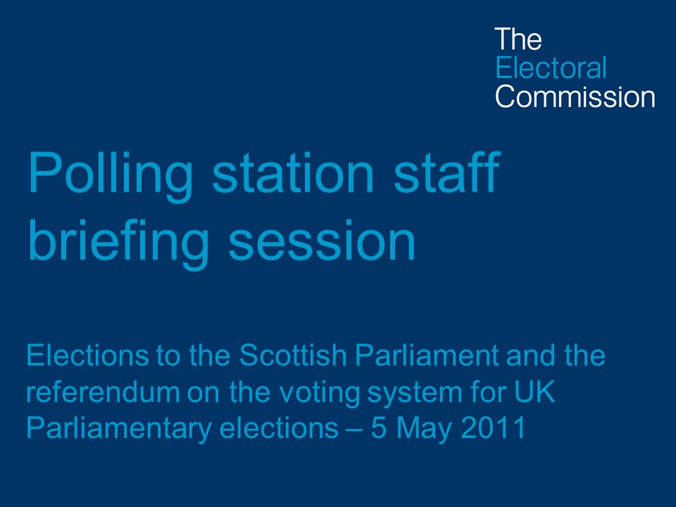Polling station staff briefing session