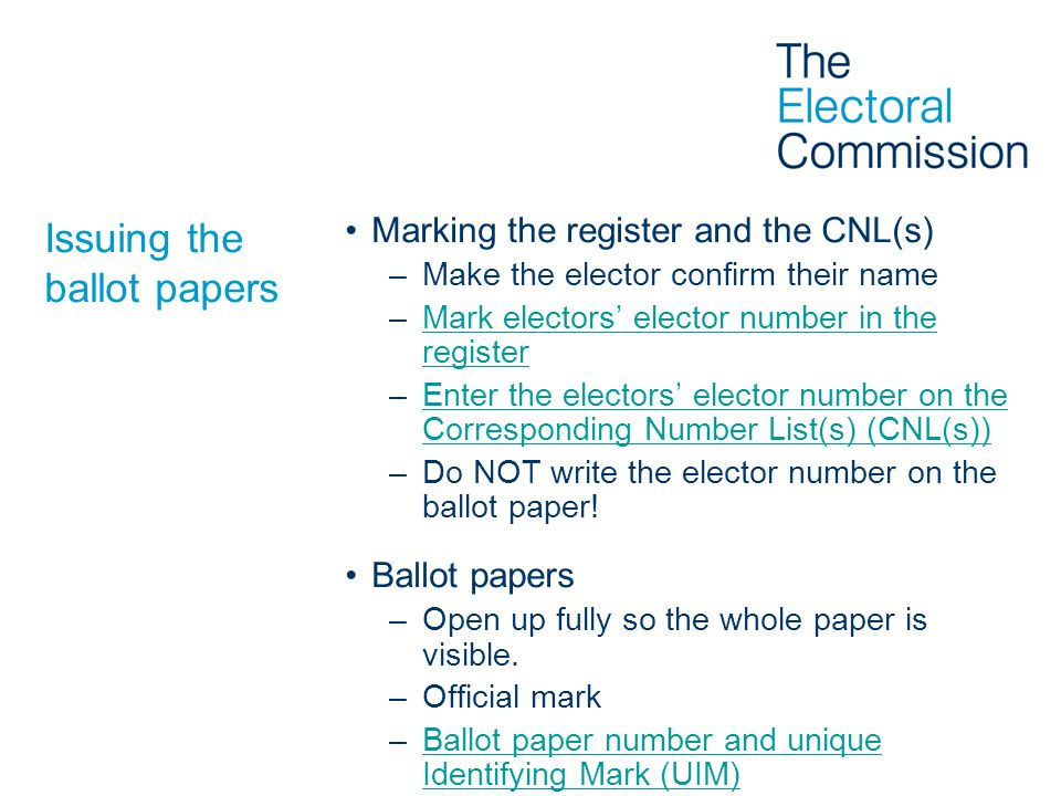 Issuing the ballot papers