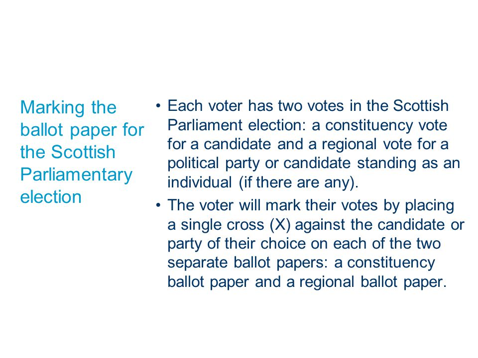 Marking the ballot paper for the Scottish Parliamentary election