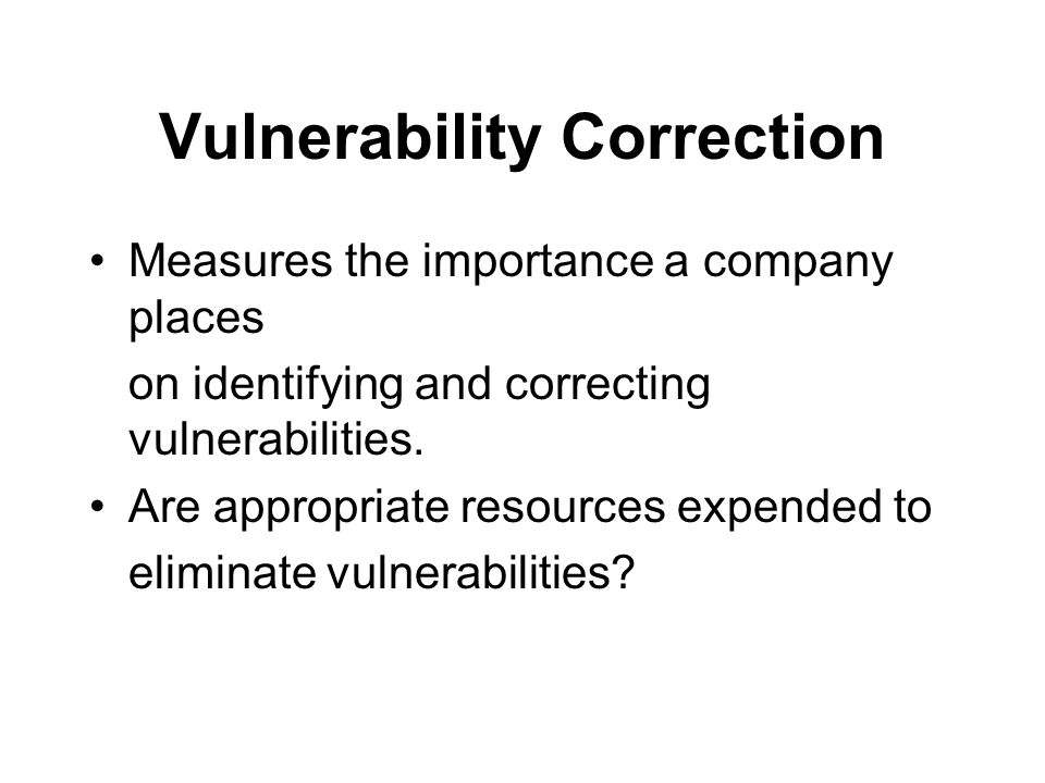 Vulnerability Correction