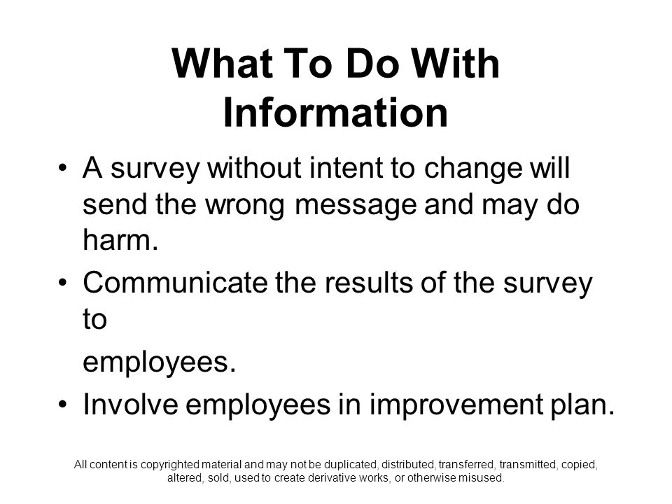 What To Do With Information