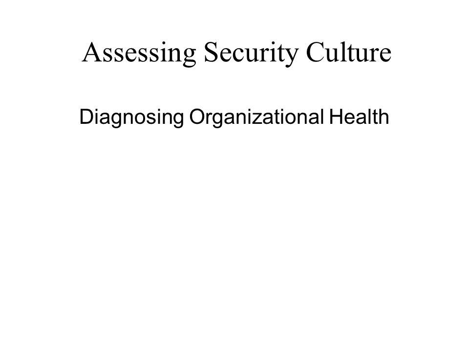 Assessing Security Culture