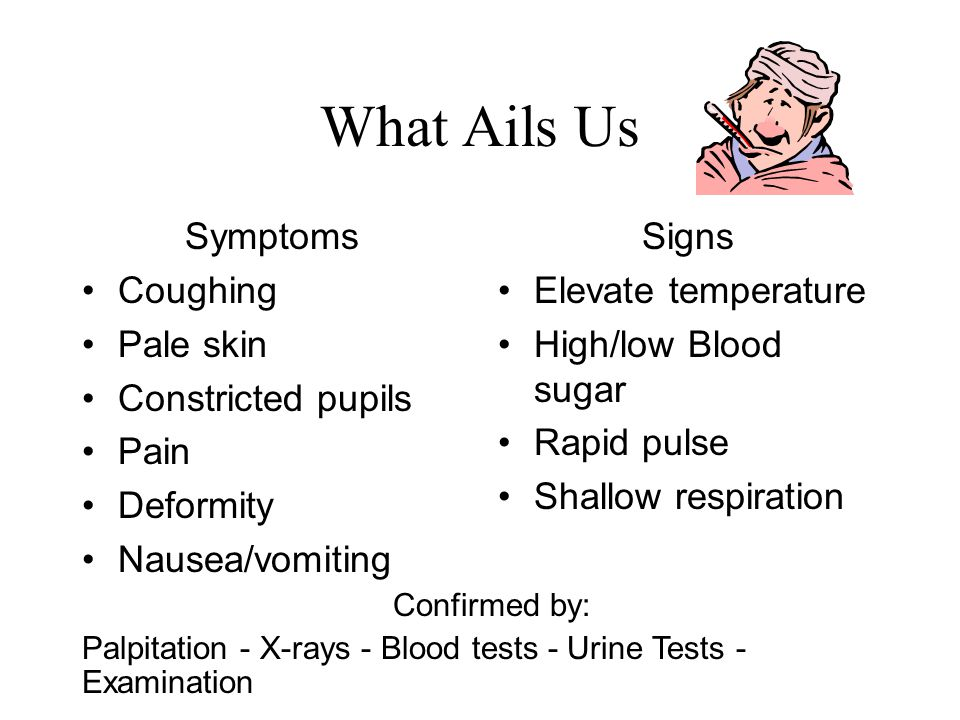 What Ails Us Symptoms Coughing Pale skin Constricted pupils Pain