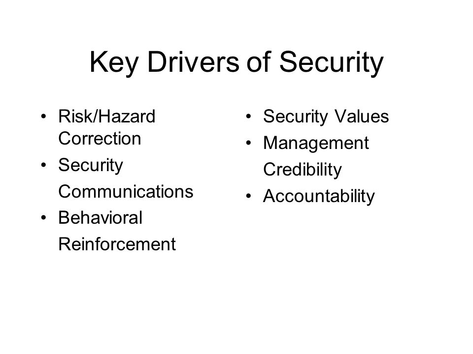 Key Drivers of Security
