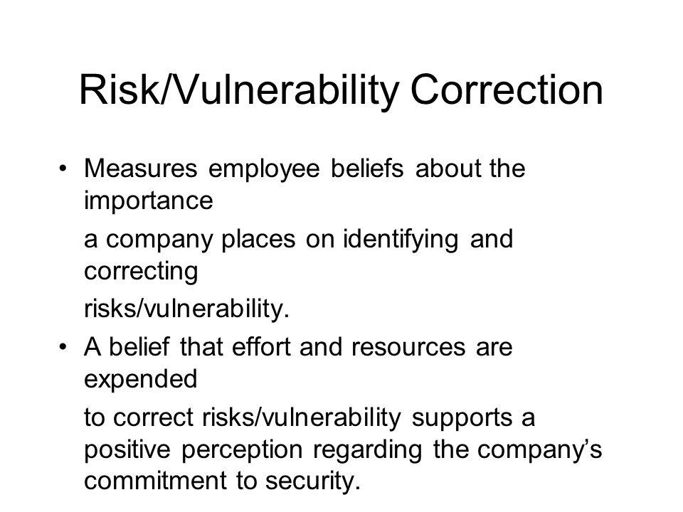 Risk/Vulnerability Correction