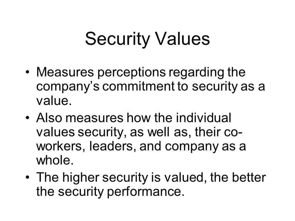 Security Values Measures perceptions regarding the company's commitment to security as a value.