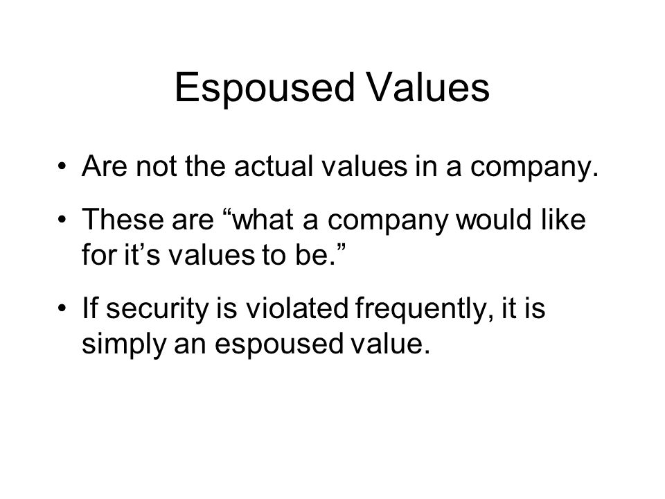 Espoused Values Are not the actual values in a company.