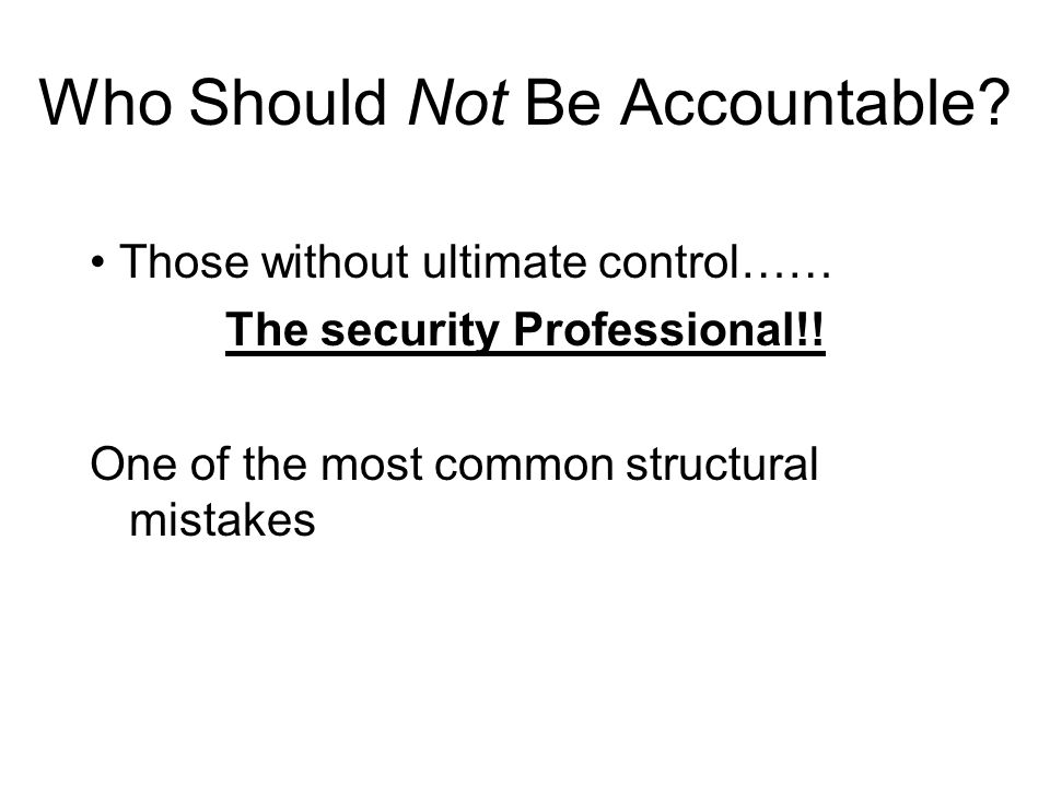 Who Should Not Be Accountable