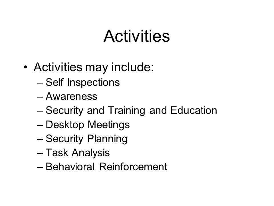 Activities Activities may include: Self Inspections Awareness