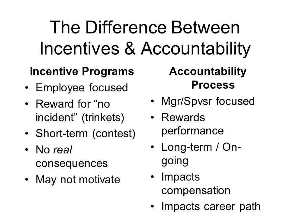 The Difference Between Incentives & Accountability