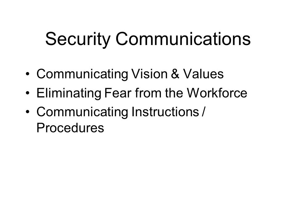 Security Communications