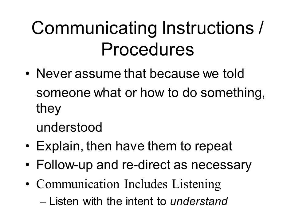 Communicating Instructions / Procedures
